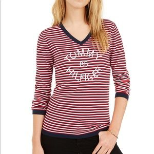 Tommy Hilfiger striped v neck sweater red blue  XS